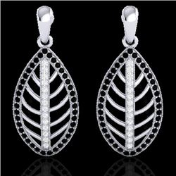 2 CTW Micro Pave Black & VS/SI Diamond Certified Designer Earrings 18K White Gold - REF-182Y4X - 214