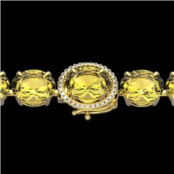 78 CTW Citrine & Micro Pave VS/SI Diamond Halo Bracelet 14K Yellow Gold - REF-212M7F - 22256