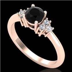 0.75 CTW Fancy Black Diamond Solitaire Engagement Classic Ring 18K Rose Gold - REF-70N9A - 37584