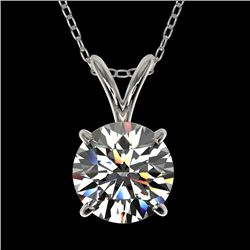 1.28 CTW Certified H-SI/I Quality Diamond Solitaire Necklace 10K White Gold - REF-240A2V - 36776