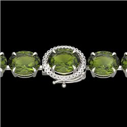 65 CTW Green Tourmaline & Micro VS/SI Diamond Halo Bracelet 14K White Gold - REF-593M8F - 22263