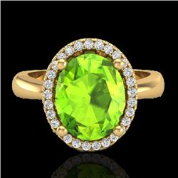 2.50 CTW Peridot & Micro Pave VS/SI Diamond Certified Ring Halo 18K Yellow Gold - REF-54H7M - 21111