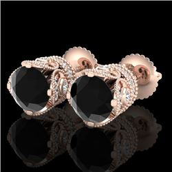 3 CTW Fancy Black Diamond Solitaire Art Deco Stud Earrings 18K Rose Gold - REF-149X3R - 37416