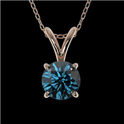 0.51 CTW Certified Intense Blue SI Diamond Solitaire Necklace 10K Rose Gold - REF-51H2M - 36727