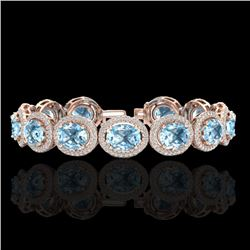 30 CTW Sky Blue Topaz & Micro Pave VS/SI Diamond Certified Bracelet 10K Rose Gold - REF-360W2H - 227