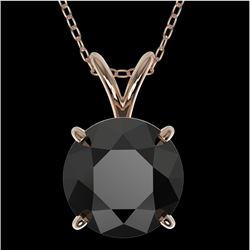 2 CTW Fancy Black VS Diamond Solitaire Necklace 10K Rose Gold - REF-43W2H - 33234