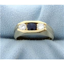 Men's Diamond and Natural Sapphire Contemporary Style Gold Ring
