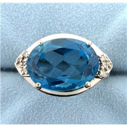 10 Ct Swiss Blue Topaz and Diamond Ring in 14k White Gold