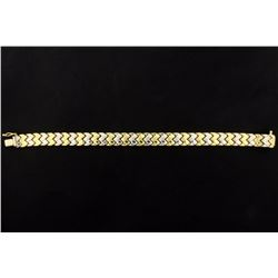 7 1/2 Inch Long Bracelet in White and Yellow Gold