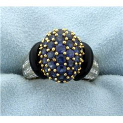Lab Sapphire and Diamond Ring