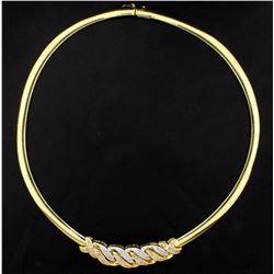 Italian Made 4ct TW Diamond Omega Style Necklace