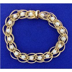Gold & Pearl Designer Bracelet