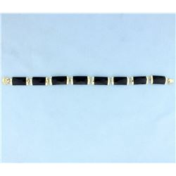 Onyx & 14K Gold Chinese Good Fortune Bracelet