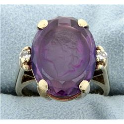 Amethyst Cameo and Diamond Signet Ring