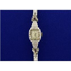 Vintage 14k Gold and Diamond Helbros Wrist Watch