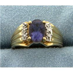 1.5ct Natural Tanzanite and Diamond Ring