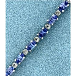 7.5ct TW Tanzanite and Diamond Tennis Bracelet