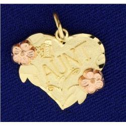 #1 Aunt Pendant or Charm in 14k Gold