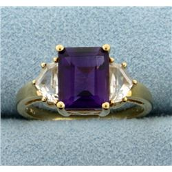 Amethyst and CZ Ring in 10k Yellow Gold