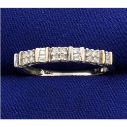 Round and Baguette Diamond Band Ring