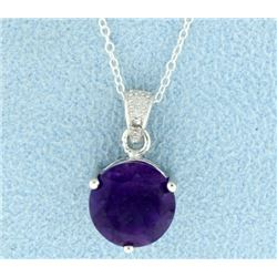 Round Amethyst Pendant with Chain