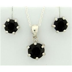 Midnight Sapphire Earring and Pendant SET in Sterling Silver