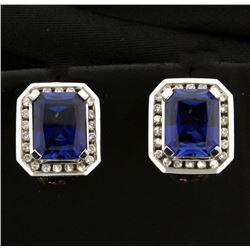 6ct TW Sapphire and Diamond Earrings
