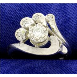 Vintage Hand Crafted White Gold Diamond Ring