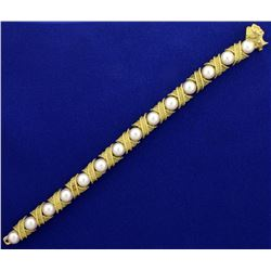 18k Gold and Akoya Pearl Designer Bracelet