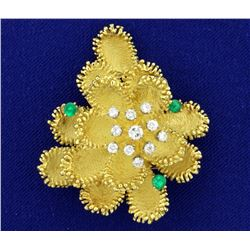 18k Gold Diamond and Emerald Custom Designed Designer Flower Pin