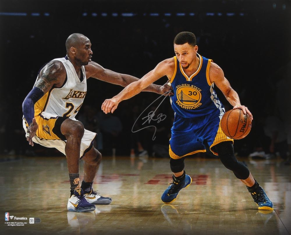 the latest c51eb 711c7 Stephen Curry Signed Warriors 16x20 Photo vs. Kobe Bryant ...