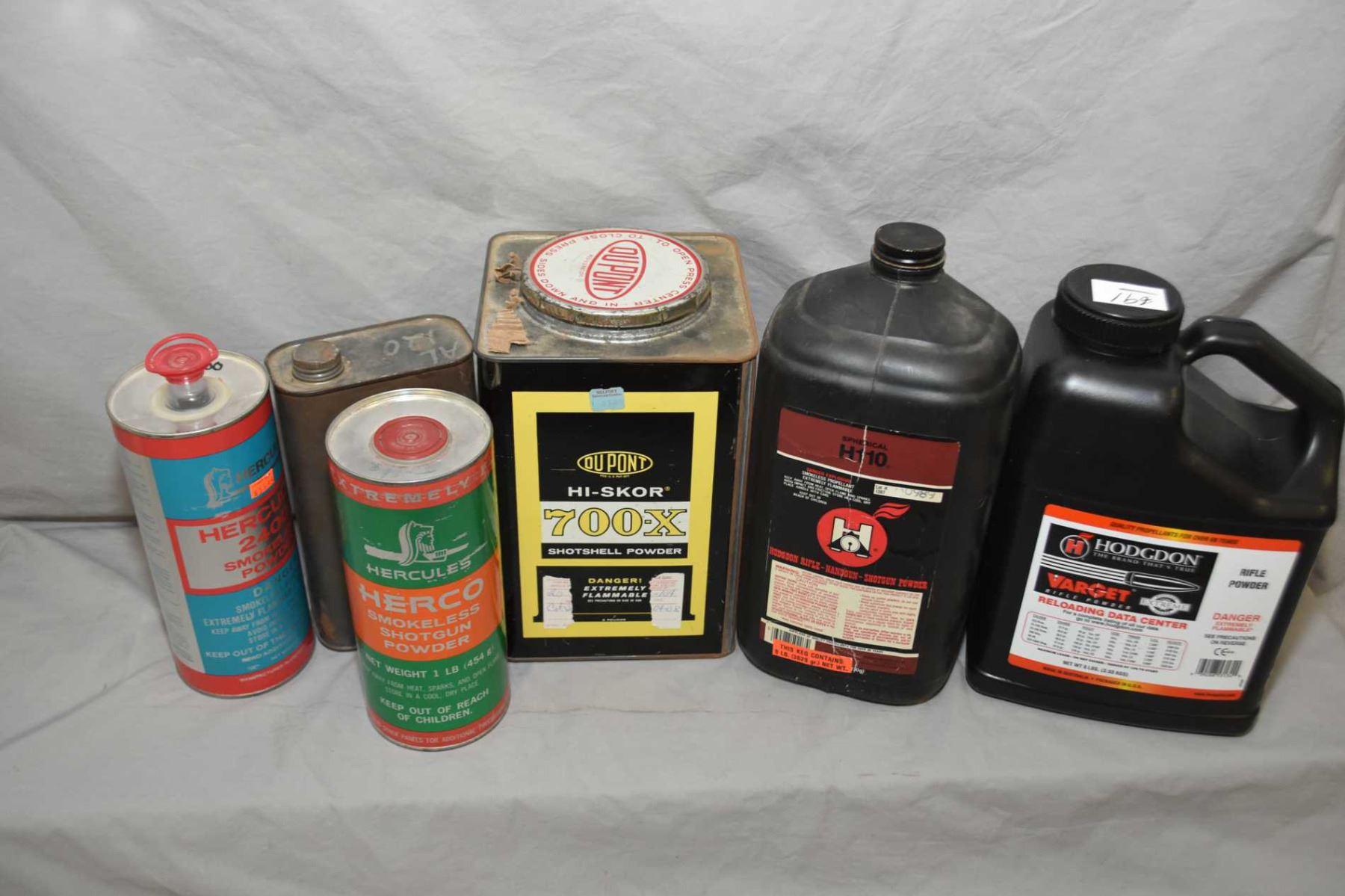 Box Lot : Asstd Gun Powder : Part Lg Can Dupont 700X