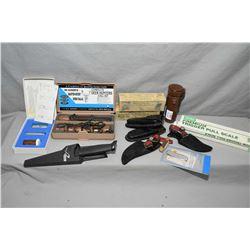 Tray Lot : Tasco 25 - 30 Brass Telescope w/ leather case - Scilco Folding Knife w/ case - Two Small