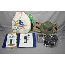 Box Lot : Russian Winter Hat w/hat badge w/ bag - Green Pith Style Helmet w/badge - GPS - Electronic