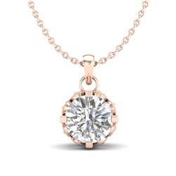 0.85 CTW VS/SI Diamond Solitaire Art Deco Stud Necklace 18K Rose Gold - REF-138H4M - 36840