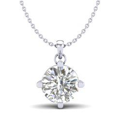 1 CTW VS/SI Diamond Solitaire Art Deco Stud Necklace 18K White Gold - REF-285W2H - 37232