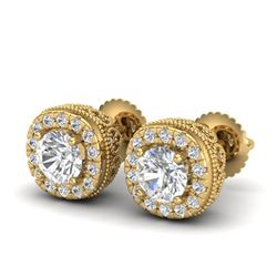 1.69 CTW VS/SI Diamond Solitaire Art Deco Stud Earrings 18K Yellow Gold - REF-263W6H - 37120