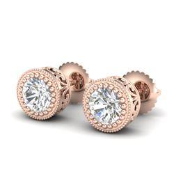 1.09 CTW VS/SI Diamond Solitaire Art Deco Stud Earrings 18K Rose Gold - REF-202A7V - 36888