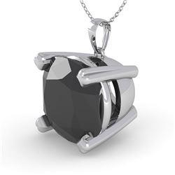 6.0 CTW Cushion Black Diamond Designer Necklace 14K White Gold - REF-131F3N - 38443