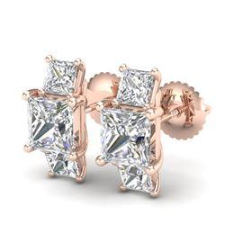 3.08 CTW Princess VS/SI Diamond Art Deco Stud Earrings 18K Rose Gold - REF-668Y2X - 37200