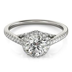 1.50 CTW Certified VS/SI Diamond Solitaire Halo Ring 18K White Gold - REF-392Y2X - 26991