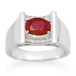 2.33 CTW Ruby & Diamond Men's Ring 10K White Gold - REF-47V6Y - 14494