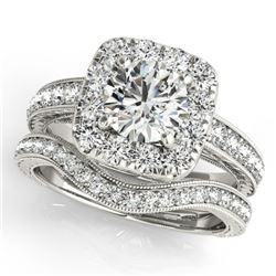 1.30 CTW Certified VS/SI Diamond 2Pc Wedding Set Solitaire Halo 14K White Gold - REF-161W3H - 30975