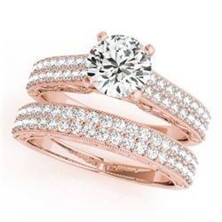 2.01 CTW Certified VS/SI Diamond Pave 2Pc Set Solitaire Wedding 14K Rose Gold - REF-424W2H - 32136