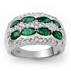 2.25 CTW Emerald & Diamond Ring 14K White Gold - REF-105F5N - 13982