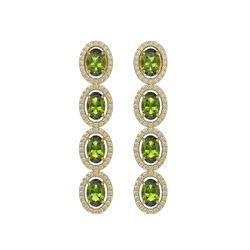 5.88 CTW Tourmaline & Diamond Earrings Yellow Gold 10K Yellow Gold - REF-121F3N - 40525