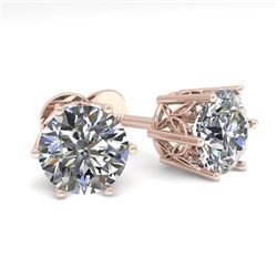 2.0 CTW Certified VS/SI Diamond Stud Solitaire Earrings 18K Rose Gold - REF-490R4K - 35843