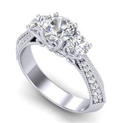 1.81 CTW VS/SI Diamond Art Deco 3 Stone Ring 18K White Gold - REF-318V2Y - 37145