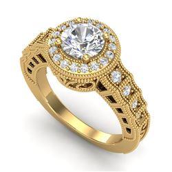 1.53 CTW VS/SI Diamond Art Deco Ring 18K Yellow Gold - REF-454H5M - 36961