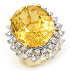 20.0 CTW Citrine & Diamond Ring 14K Yellow Gold - REF-202N2A - 14338